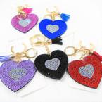 "2.5"" Crystal Stone Heart Bling Keychains w/ Tassel & Clip 12 per pk .65 each"
