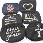 Black Soft Fabric Faith Theme Reusable Protective Face Mask (6 Styles) 12 per pk .65  each