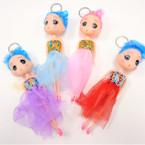 "Big 6"" Fashion Doll Keychains w/ Lace Dress Asst Colors  .56 ea"