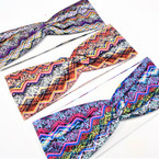 "3"" Multi Color Print Zig Zag Pattern Fashion Stretch Headbands  .58 each"