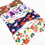 "3"" Multi Color Flower Print Fashion Stretch Headbands  .58 each"