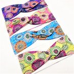 "3"" New Age Look Print Stretch Headbands 12 per pk .58 each"