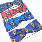 "3"" Peacock Look Theme Print Stretch Headbands 12 per pk .58 each"