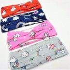 "2.5"" Kid's Fashion Stretch Headbands Heavenly Unicorn Theme .54 each"