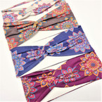 "3"" New Age Look Print Fall Color Stretch Headbands (72)  12 per pk .58 each"