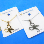 Gold & Silver Stainless Steel w/ Open Scissor Pend. Necklace   12 per pk  .58 each