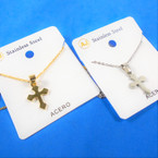 Gold & Silver Stainless Steel w/ Cross Pend. Necklace   12 per pk  .58 each