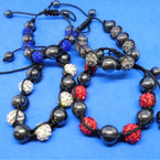 Hematite 8MM Beads w/ Fireball Beads Bracelet .60 each