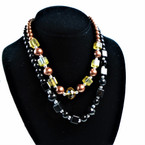 "18"" Pearl & Glass Bead Necklaces 3 colors .56 each"