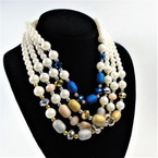 "18"" Pearl ,Frosted &  Glass Bead Necklaces mixed colors .56 each"