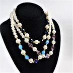 "18"" Pearl  &  Crystal Bead Fashion Necklaces mixed colors .56 each"