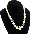 "18"" Pearl  &  Square Glass Bead Fashion Necklaces .56 each"