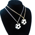 "24"" Gold & Silver Chain Necklace w/ Soccer Ball Pendant .56 each"