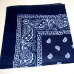"22"" Square Navy Blue Bandana 100% Cotton  .56 ea"