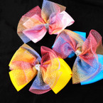 "5.5"" 2 Layer Gator Clip Bows w/ Rainbow Sparkle Lace  .54 each"