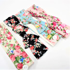 "2"" Flower Print Stretch Headband w/ 4"" Bow & Buttons .58 each"
