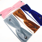 "3"" Velvet  Stretch Headband w/  Buttons mix colors  .58 each"
