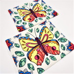 """8"""" X 7""""  Canvas Zipper Cosmetic Bag  Colorful Butterfly 12 per pk .58 each"""