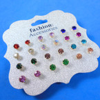 12 Pair Crystal Birthstone Earrings .56 per set
