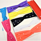 "Trendy 3"" Bright Color Stretch Headbands w/ White Pearls .58 each"