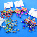 "3"" Cute Colorful Tribal Cloth Earrings w/ Dangle Bells & Beads  .56 per pair"