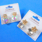Elegant Heart Glass Stone Fashion Earring Clear/AB  .54 each