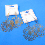 "2.5"" Lightweight Gold & Silver Laser Cut Dangle Fashion Earrings .54 ea pair"