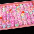 Kids Plastic Fun Fashion Rings (36)  100 per display bx .07 each ring