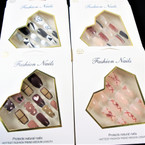 New Multi Design 12 Pk Pre Glued Fashion Nails (1090 ) .58 each set