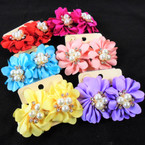 "1.5"" Fabric Flower Earring w/ Pearls & Cry. Stones  Asst Colors .54 per pair"