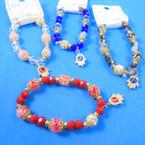 Marble & Crystal Bead Stretch Bracelets w/ Hamsa Charm  .56 each