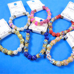 Marble Glass Bead Stretch Bracelets w/ Fireball Beads  .56 each