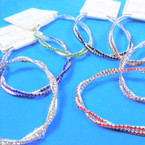 Twisted Two Line Stretch Rhinestone Tennis Bracelets Asst Color Stones   .56 each