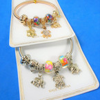 Gold & Silver Spring Style Beaded Bracelet w/ Turtle & Elephant Charm  .58  each
