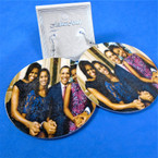 "2.75"" Round  Obama Family Wood Earring  .54 each pair"