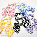 "3 Pack Gator Clip Bow Sets Groovy Flower Theme 6"" & 3"" Size .54 per set"