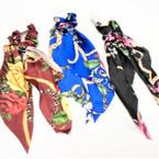 "12"" Long Flower & Chain Print  Hair Twister w/ Tails asst colors .56 each"