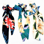 "10"" Long Hawaiian Flower Print  Hair Twister w/ Tails asst colors .54 each"
