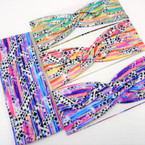 "3"" Wide Multi Color Brushed Art Look Stretch Headbands  12 per pk .58 ea"