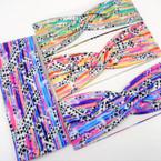 "3"" Wide Multi Color Brushed Art Look Stretch Headbands  12 per pk .58 ea"