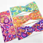 "3"" Wide Multi Color Groovy 60's Look Stretch Headbands  12 per pk .58 ea"