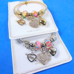Gold & Silver Spring Style Beaded Bracelet w/ Heart Charms  .58  each