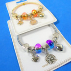 Gold & Silver Spring Style Beaded Bracelet w/ Heart & Tree of Life  Charms  .58  each