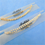 2 Strand Gold & Silver Chain Anklets w/ Clear Rhinestones .54 each