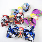 "5"" Kids Mix Multi Color Sequin Gator Clip Bows   .56 each"