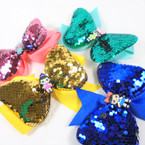 "5"" Kids Mix 2 Layer Sequin Gator Clip Bows   .56 each"