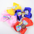 "5"" Kids Mix 2 Layer Pastel Sequin Gator Clip Bows   .56 each"