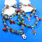 Christmas Charm Bracelet w/ Red & Green Crystal Beads & Bells .56 each