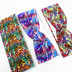 "3"" Wide Multi Color Safari  Print  Stretch Headbands (94) 12 per pk .58 ea"