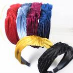 "1.5"" Soft Velvet Feel Headbands w/ Sparkle  Line Fall Colors   .56 each"